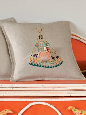 Fox Tipi Linen Pillow