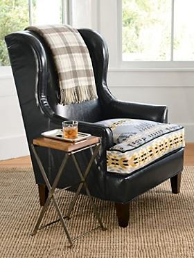 Leather/jacquard Logan Chair