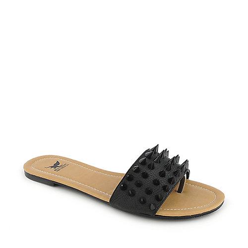 Shiekh Womens 092 Flat Sandal Thong Sandals Black