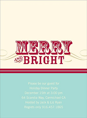 Simply Merry -- Aqua Christmas Party Invitation