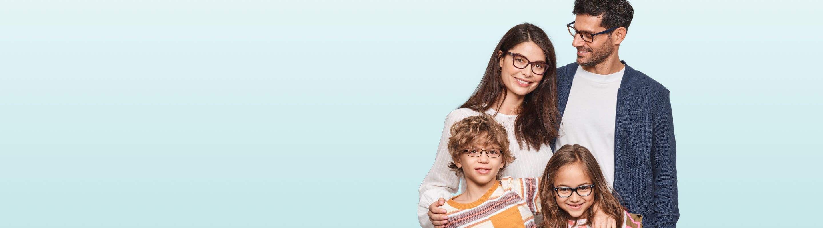 Family with eyeglasses