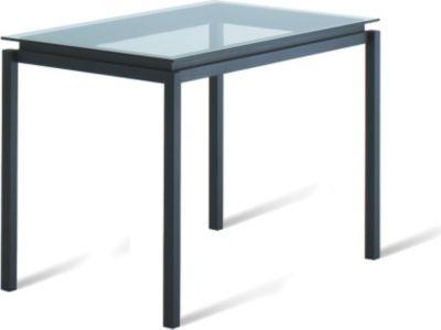 Amisco robert rectangular glass top dining table for Glass top dining table 36 x 60