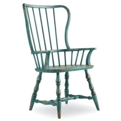 Hooker Furniture Sanctuary Brighton Spindle Arm Chair In Sky High Azure Blue