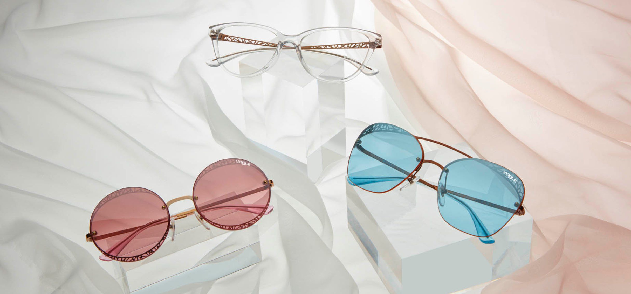 7515ebbc1e43 Now you see me, now you don't. Play with your style in ultra-feminine  frames featuring subtle lace and textured details.
