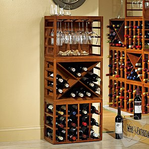 Stack racks high and save on space!   One level  two levels  three.... Easily adjust the size and configuration of your wine collection with these stackable hardwood racks! One 12-bottle* rack  one 12-bottle* X rack and one Wine Glass Rack. Designed to fit securely one on top of the other for space-saving storage. Strong  weighty hardwood allows you to stack from floor to ceiling safely. Additional Cube-Stack racks can be purchased. Perfect on a countertop. Easy to assemble. No hardware required to stack  but should be secured to the wall if 3 or more are stacked high. Walnut stained Mahogany wood.  Size: 46-1/2'H x 18-7/8'W x 10-9/16'D (when stacked on top of each other)   *Bottle capacities are when storing standard Bordeaux 750mL bottles.