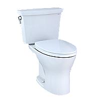 Toilette transitionnelle deux pièces Drake®, cuvette allongée 1,28gpc et 0,8gpc–Hauteur universelle–Robinetterie brute 10po