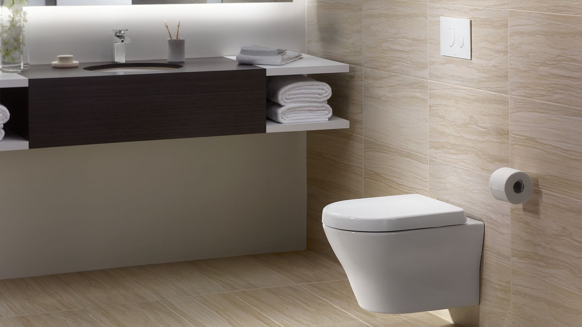 MH® Wall-Hung Dual-Flush Toilet 1.28 GPF & 0.9 GPF D-Shaped Bowl ...